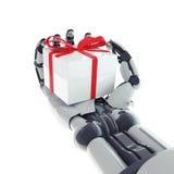 Robotachtig wapen met gift Royalty-vrije Stock Afbeeldingen
