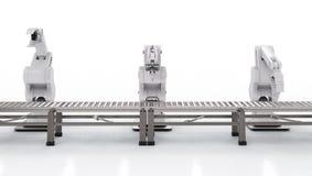Robotachtig wapen met transportbandlijn Stock Afbeelding