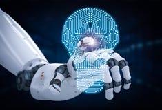 Robotachtige hand met kringsraad in lightbulbvorm Royalty-vrije Stock Foto's