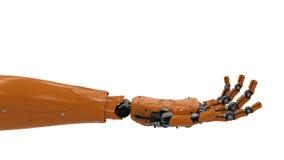 Robotachtige hand met open handpalm Royalty-vrije Stock Afbeeldingen