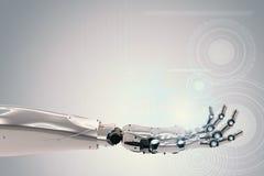 Robotachtige hand met virtuele grafisch Royalty-vrije Stock Afbeelding