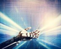 Robotachtige hand op technologische blauwe achtergrond stock foto