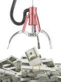 Robotachtige klauw en dollars Royalty-vrije Stock Foto