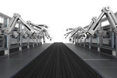 Robotachtige machines met transportbandlijn Royalty-vrije Stock Foto