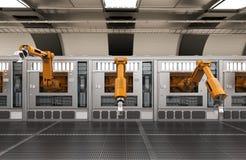 Robotachtige machines met transportbandlijn Stock Foto