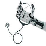 Robotachtige wapen en stethoscoop Stock Foto's