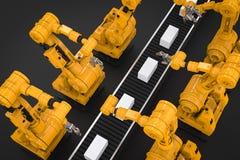 Robotachtige wapens met dozen op transportband Stock Foto's