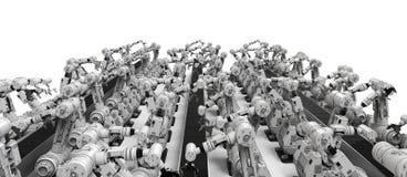Robotachtige wapens met lege transportband Stock Afbeelding