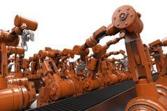 Robotachtige wapens met lege transportband Royalty-vrije Stock Foto's