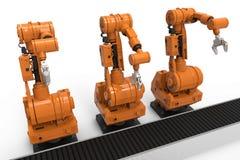 Robotachtige wapens met lege transportband Stock Afbeeldingen