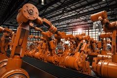 Robotachtige wapens met lege transportband Royalty-vrije Stock Afbeelding