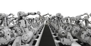 Robotachtige wapens met lege transportband Stock Foto's