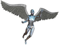 RobotAndroid Cyborg Angel Isolated Royaltyfri Foto