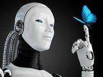 Robotandroidkvinna med fjärilen Arkivfoton