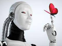 Robotandroidkvinna med fjärilen Arkivbild