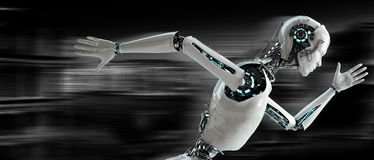 Robotandroidspring Fotografering för Bildbyråer