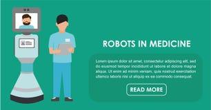 Robotar i medicin Plan illustration royaltyfri illustrationer