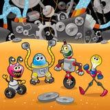Robotar med bakgrund. Royaltyfria Foton