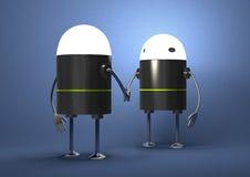 Robotar med glödande huvudhandshaking Arkivbild