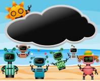 Robotar på stranden royaltyfri illustrationer