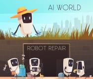 Robotar reparerar horisontalbaneruppsättningen royaltyfri illustrationer