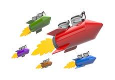 Robotar som flyger på raket avskild white för challenge metafor royaltyfri illustrationer