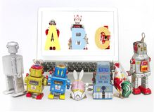 Robotar som teching robotabc:et Royaltyfria Bilder