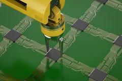 Robotarm som arbetar med CPU royaltyfri illustrationer