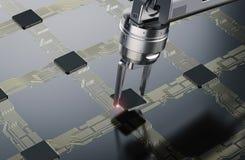 Robotarm som arbetar med CPU vektor illustrationer