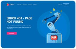 Robotarmfel 404 vektor illustrationer