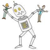 Robotautomatisering die Mensen vernietigen Stock Afbeeldingen