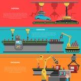 Robotbaneruppsättning royaltyfri illustrationer