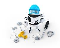 Robotbouwvakker met diverse hulpmiddelen. Technologieconcept Royalty-vrije Stock Afbeelding