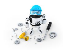 Robotbyggnadsarbetare med olika hjälpmedel. Teknologibegrepp royaltyfri illustrationer