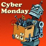 RobotCybermåndag grejer och elektronik stock illustrationer