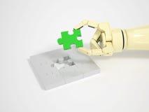 Roboten avslutar pusselleken Royaltyfria Foton