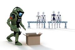 Roboten bombarderar truppen Royaltyfri Bild