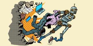 Roboten bryter ut ur m?nskliga stereotyper royaltyfri illustrationer
