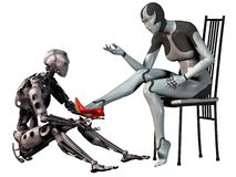 Roboten cinderella, androidman försöker en röd sko för hög häl i foten av en androidkvinna, illustrationen 3d vektor illustrationer