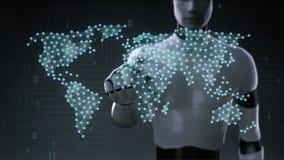 Roboten cyborgen som trycker på den trådlösa kommunikationssymbolen, gör den globala världskartan, internet av saker Finansiell t vektor illustrationer