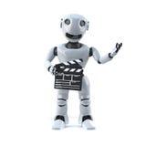 roboten 3d gör en film Arkivbilder