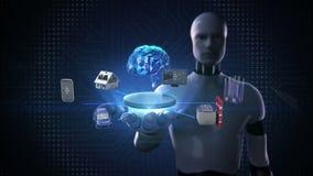 Roboten den öppna cyborgen gömma i handflatan, apparatavkännaresymbolen som förbinder den Digital hjärnan, konstgjord intelligens