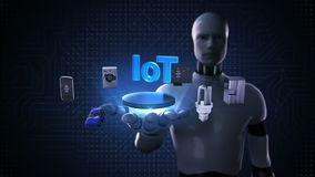 Roboten den öppna cyborgen gömma i handflatan, Iot teknologi som förbinder smarta hem- apparater, internet av sakerbegreppet kons royaltyfri illustrationer