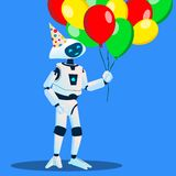 Roboten har gyckel med ballonger i hand och festligt lock på huvudvektor isolerad knapphandillustration skjuta s-startkvinnan vektor illustrationer