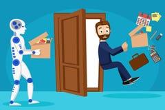 Roboten kom in i arbetsstället i stället för en person Mannen avfyrades och kastades ut ur kontoret vektor illustrationer