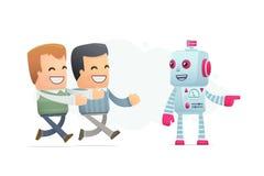 Roboten kontrollerar folkets meningar stock illustrationer