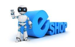 Roboten och tecknet e-shoppar Fotografering för Bildbyråer