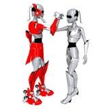 roboten poserar samarbetar Arkivfoton