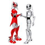 roboten poserar samarbetar Royaltyfri Bild