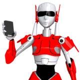 Roboten poserar showsmartphonen Fotografering för Bildbyråer